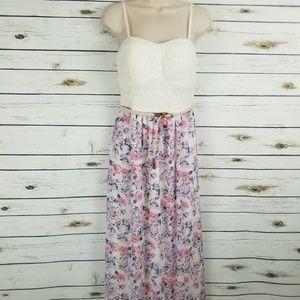 Lily Rose Dresses - Lily Rose Floral Halter Top Dress Medium Pink Blue